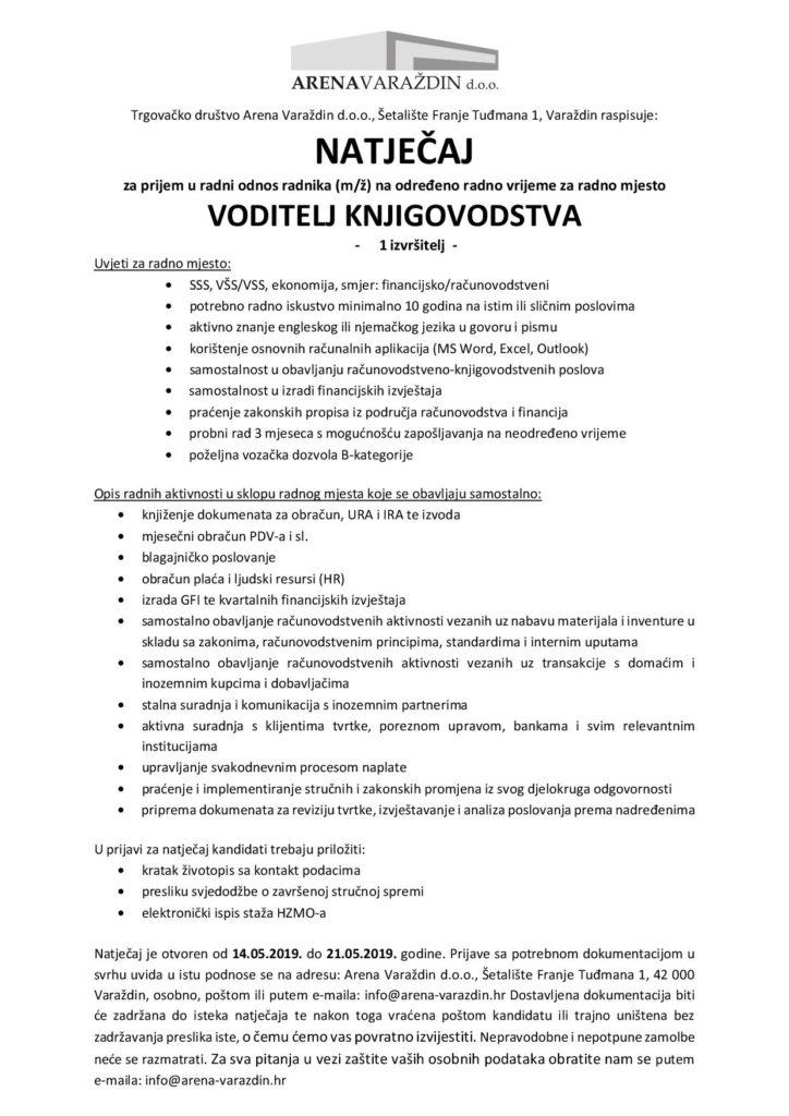 Oglas natječaja za radno mjesto voditelj knjigovodstva